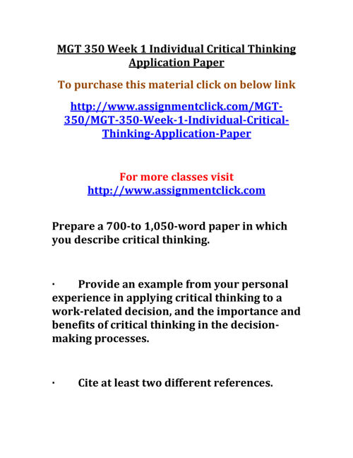 UOP MGT 350 Week 1 Individual Critical Thinking Application Pape
