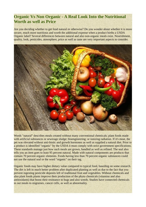 Organic Vs Non Organic - A Real Look Into the Nutritional Worth