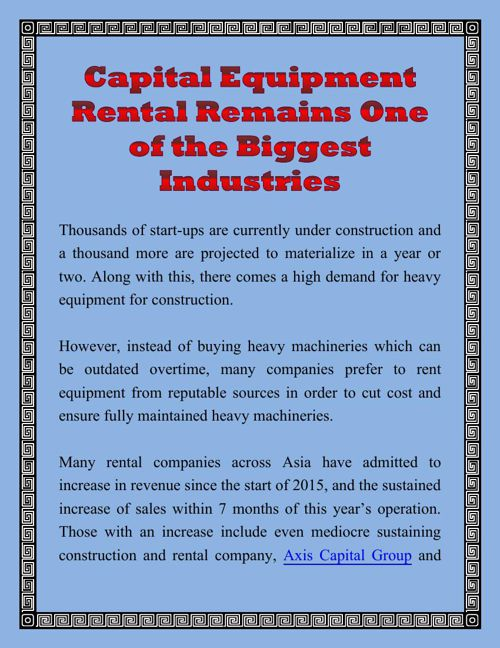 Capital Equipment Rental Remains One of the Biggest Industries
