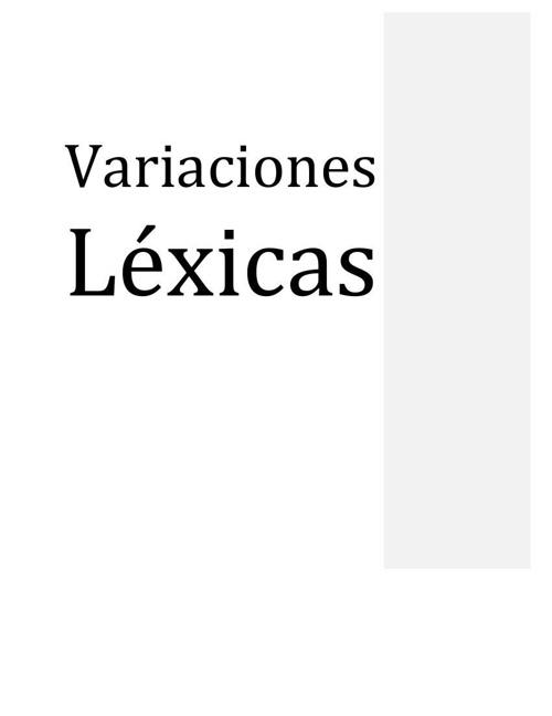 Variaciones Léxicas
