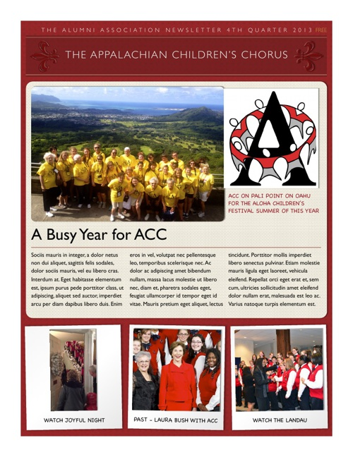 The Appalachian Children's Chorus Alumni Quarterly  January 2014