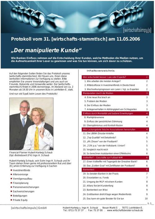 Vortrag Wirtschaftsimpuls GmbH 2008: Der manipulierte Kunde