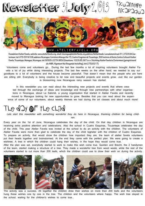 Newsletter Atelier Favela July 2013