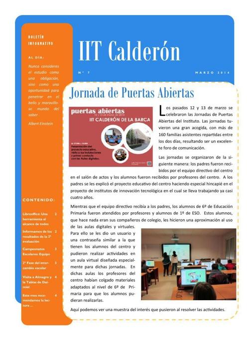 Boletín de abril del IES Calderón de la Barca de Pinto