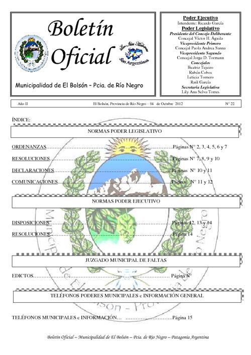 Boletín Oficial Nº 22 Septiembre 2012