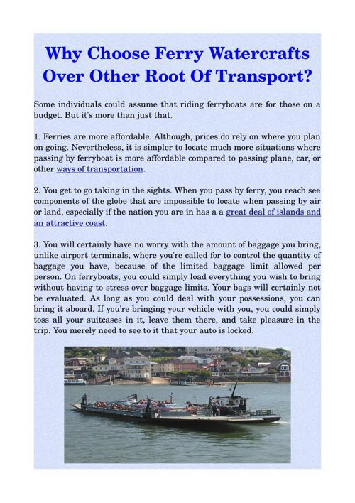 Why Choose Ferry Watercrafts Over Other Root Of Transport