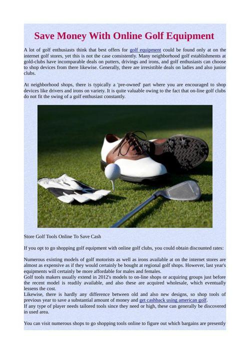Save Money With Online Golf Equipment