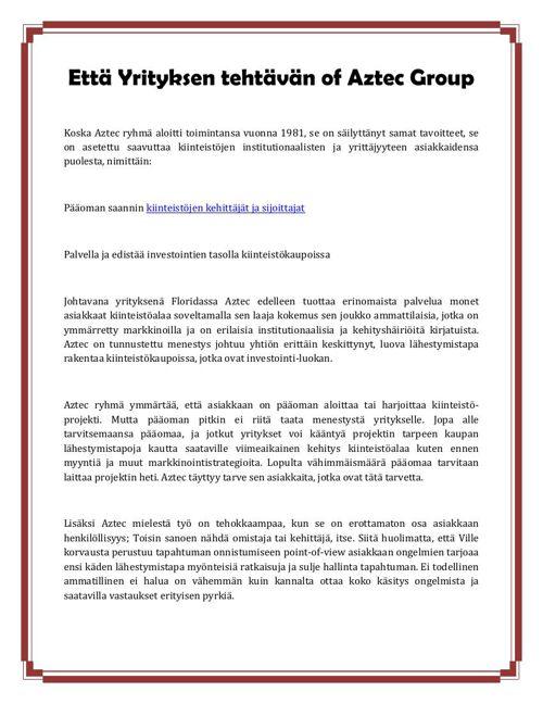 Että Yrityksen tehtävän of Aztec Group