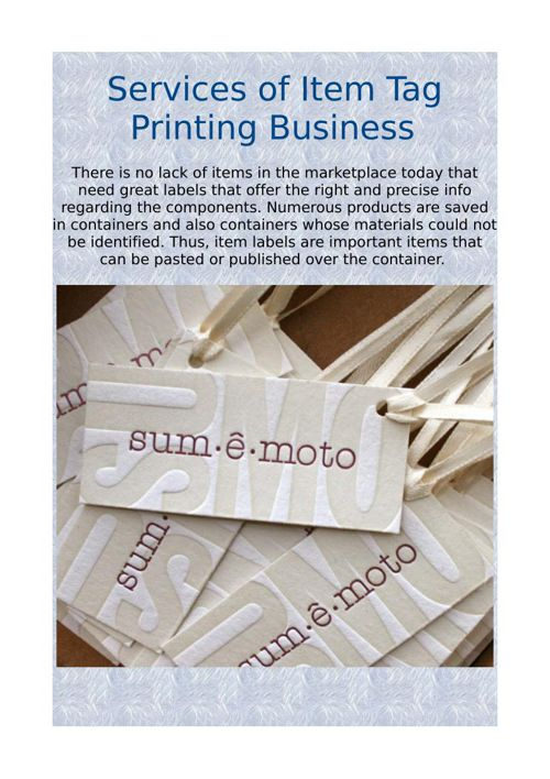 Services of Item Tag Printing Business