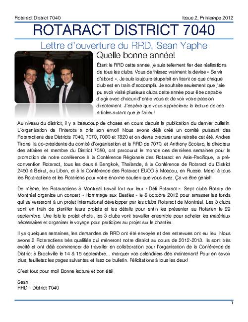 June Newsletter 2012 - French