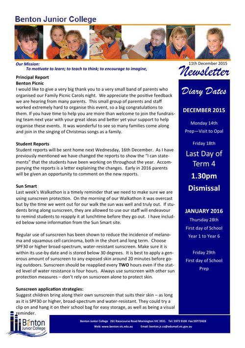 B.J.C. Newsletter 11th December 2015