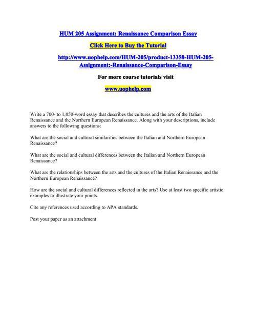 HUM 205 Assignment Renaissance Comparison Essay