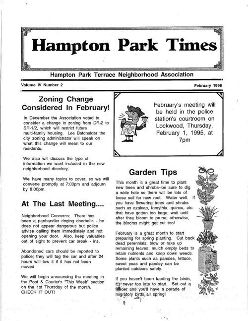 HPT Newsletter February 1996