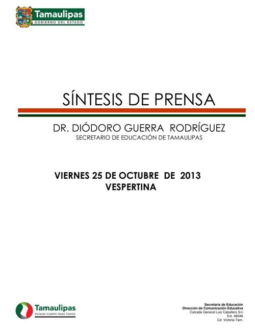 SÍNTESIS VESPERTINA VIERNES 25 DE OCTUBRE
