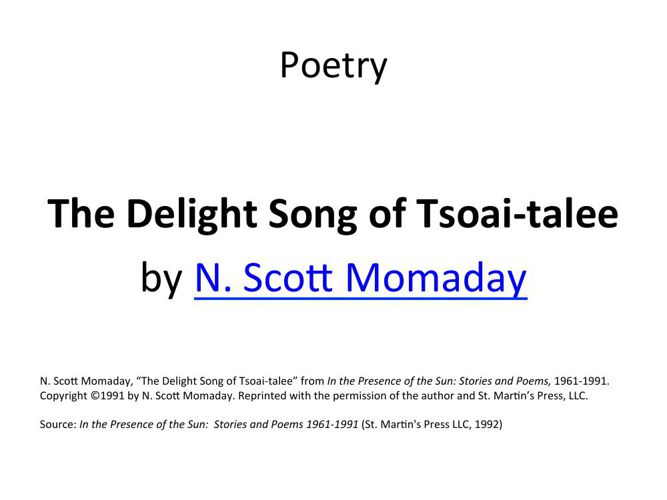 The Delight Song of Tsoai-talee by N. Scott Momaday
