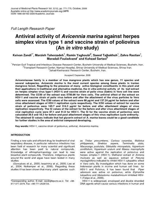 Antiviral activity of Avicennia marina against herpes simplex vi