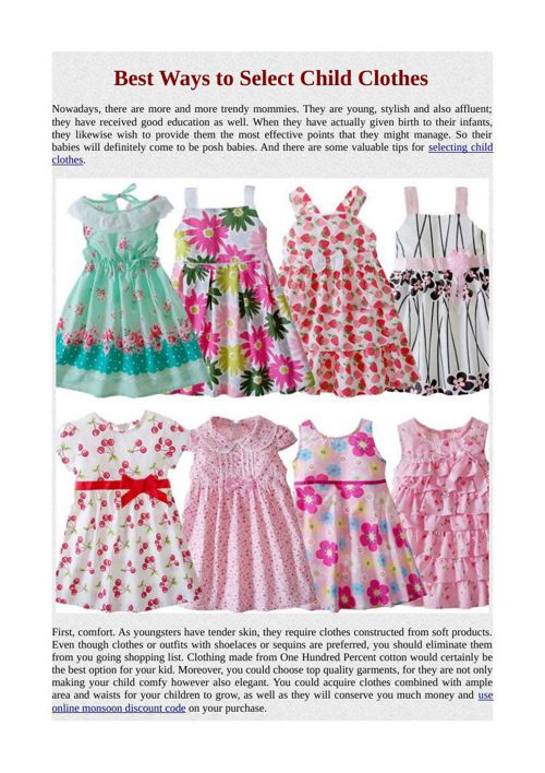 Best Ways to Select Child Clothes