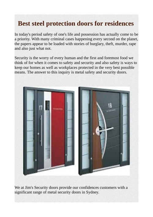 Best steel protection doors for residences