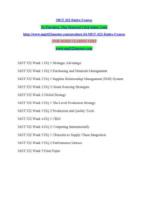 MGT 322 Entire Course