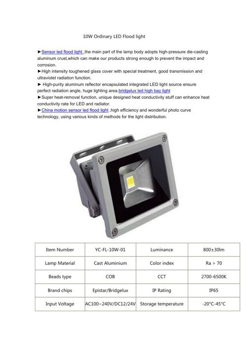 10W Ordinary LED Flood light