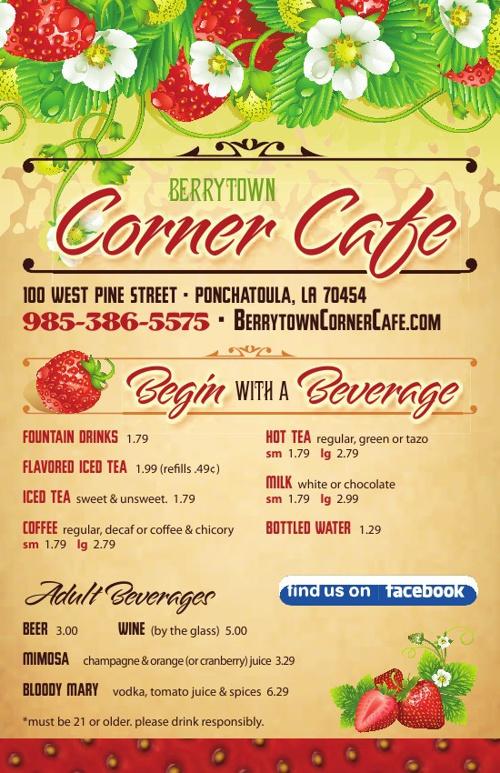 Berrytown Corner Cafe Menus