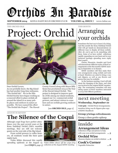 Orchids in Paradise, Volume 14, Issue 7 (September 2014)