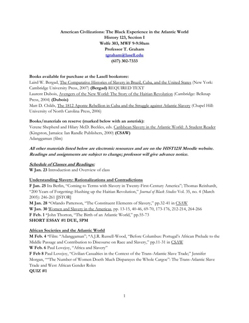 Atlantic World 2013 Syllabus