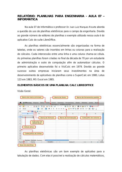 Relatório Aula 07 - Informática