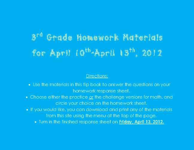 Homework materials for April 10th-13th, 2012