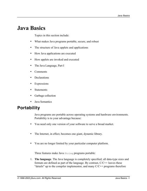 Java Basic Notes