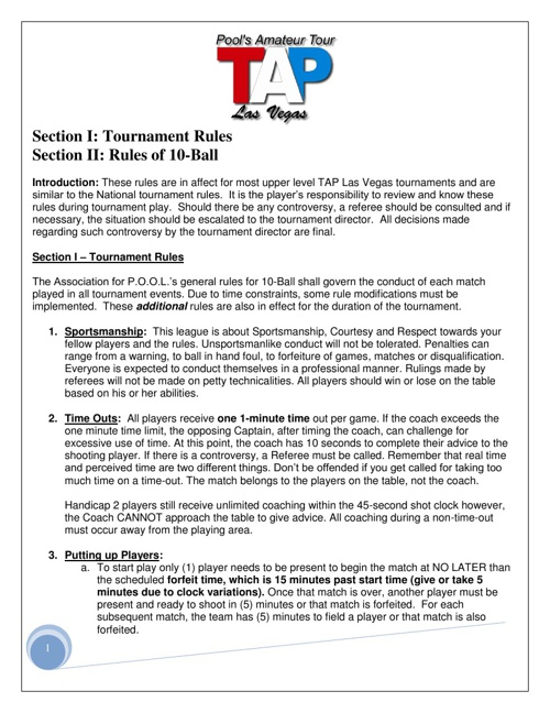 10-Ball Tournament Rules