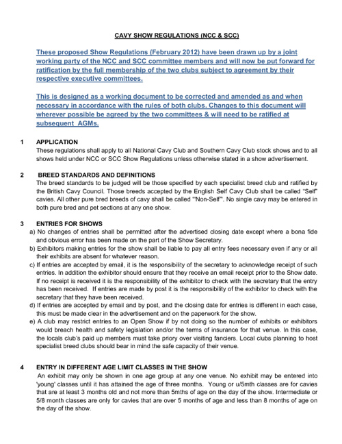 NCC and SCC Draft Show Regulations