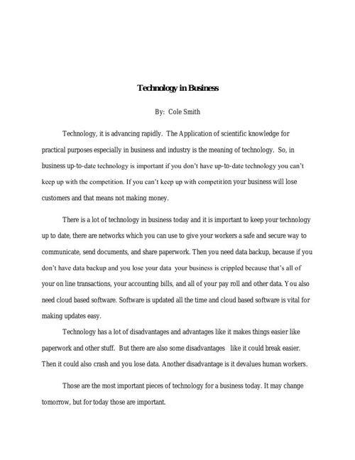 Technology Report
