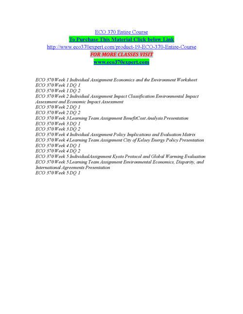 ECO 370 EXPERT Expect Success eco370expertdotcom