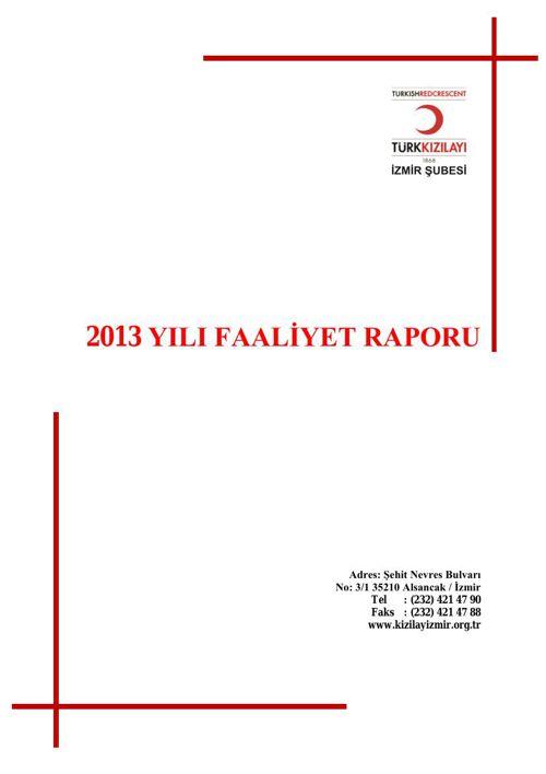 İzmir Şube Faaliyet Raporu 2013