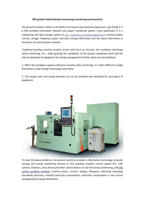 CNC grinder informatization and energy monitoring system patent