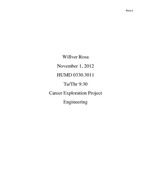 Alex Rosa Career Project