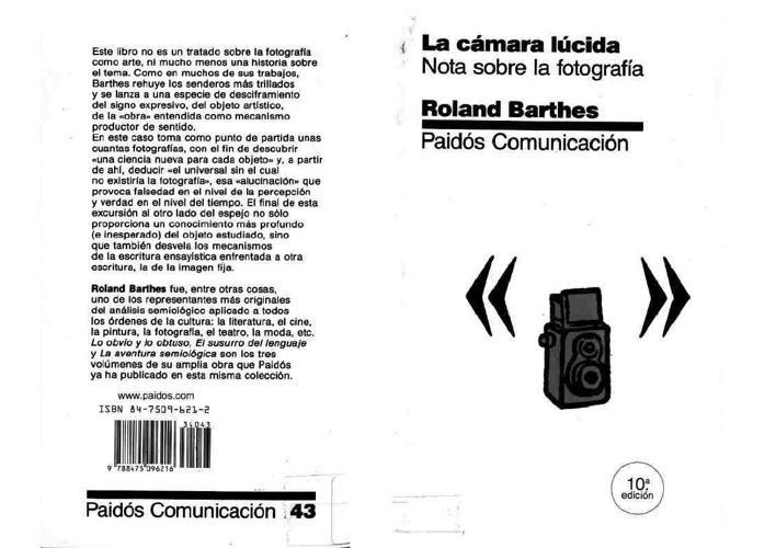 La cámara lúcida - Roland Barthes