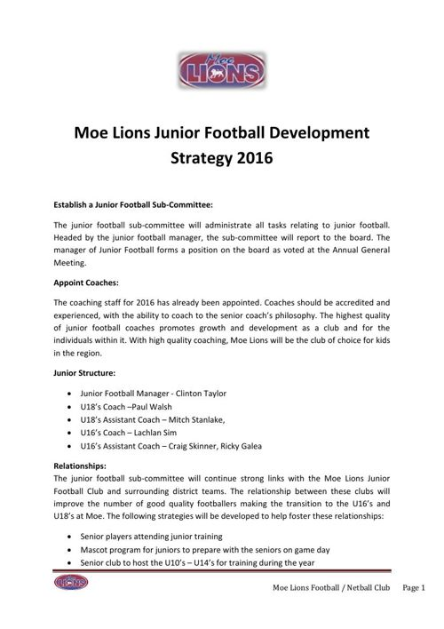 Moe Junior Football Development Strategy 2016