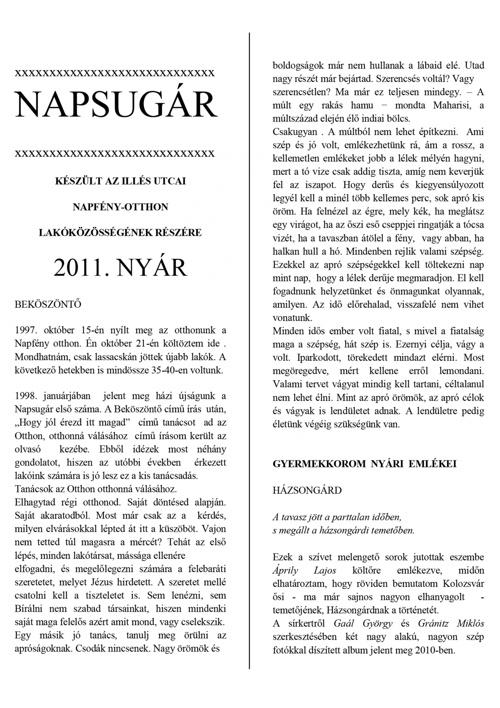 Napsugár újság - 2011. nyári szám