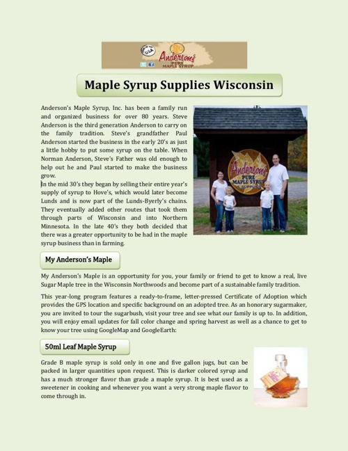 Maple Syrup Supplies Wisconsin