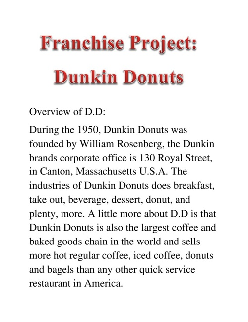Franchise Project: Dunkin Donuts