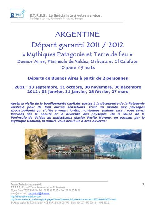 Argentine: départs garanti 9 nuits 2011/2012