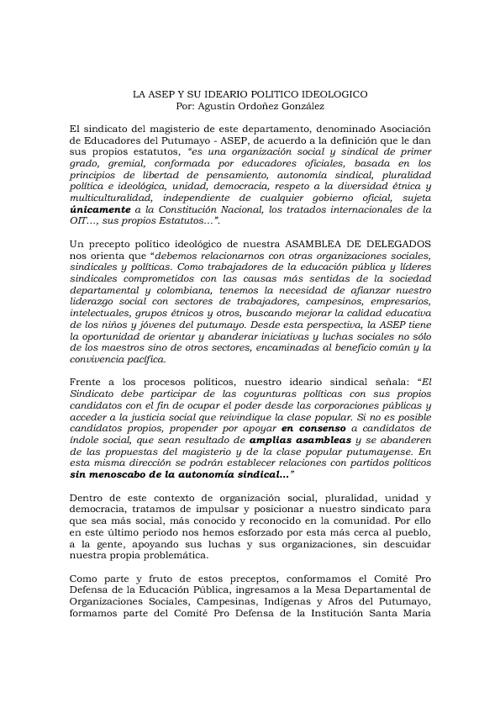 IDEARIO POLITICO DE ASEP