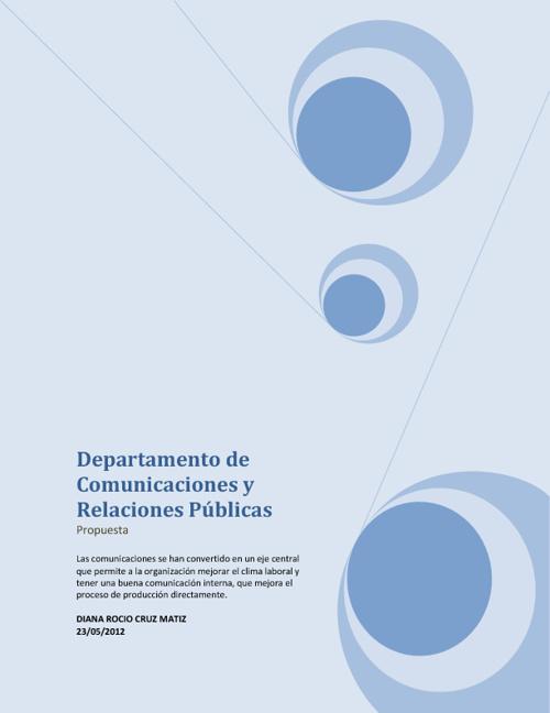 DEPARTAMENTO DE COMUNICACIONES Y RELACIONES PUBLICAS