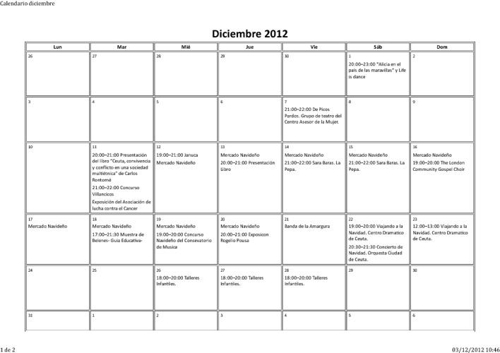 Calendario coordinación actividades dicimbre-2012