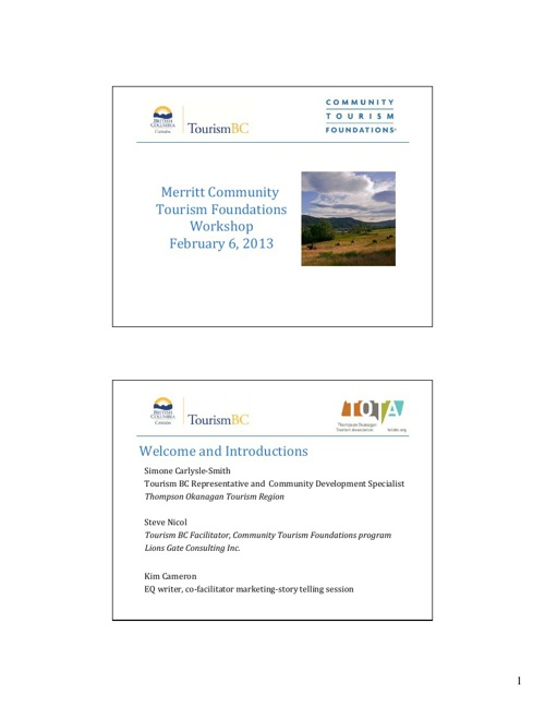Merritt Community Tourism Foundations Workshop