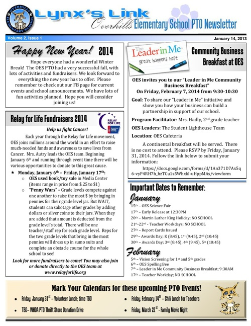 OES PTO January Newsletter