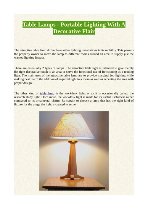 Table Lamps - Portable Lighting With A Decorative Flair