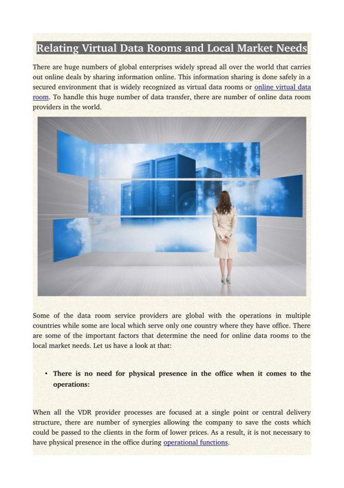 Relating Virtual Data Rooms and Local Market Needs